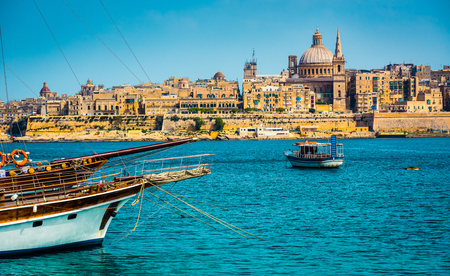 harbour: scenic View of Marsamxett Harbour and Valletta in Malta
