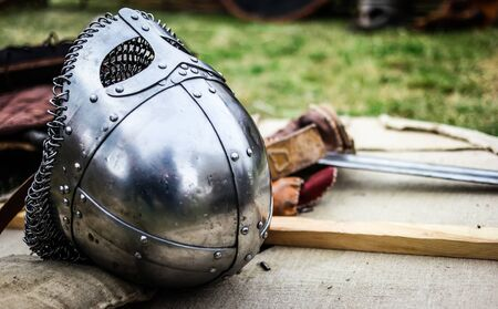 chain armour: steel knight helmet with chain armour