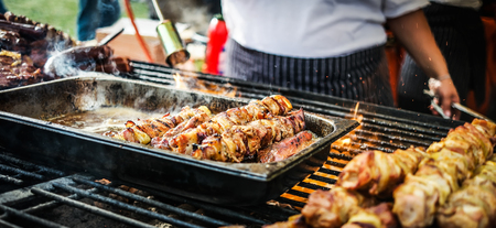 bbq grill: cooking meat barbecue on fire