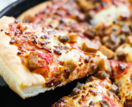 meat lover: portion piece of delicious pizza