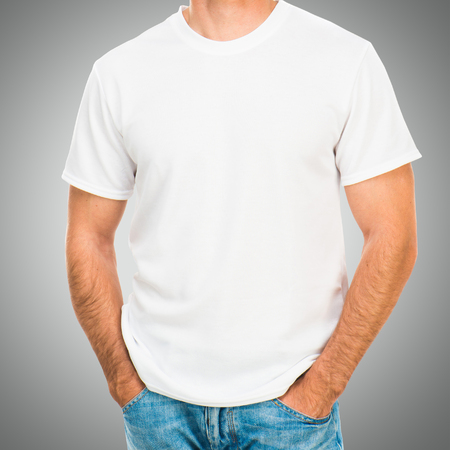 tshirts: white tshirt on a young man template on gray background Stock Photo