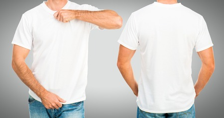 tshirt template: Man in a white T-shirt template on gray background, front and back