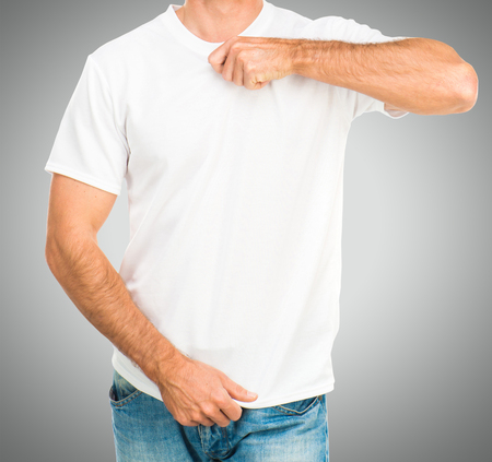 tshirt template: Man in a white T-shirt template on gray background