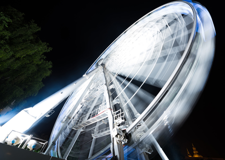 ferriswheel: night park with ferris wheel  in Budapest Stock Photo
