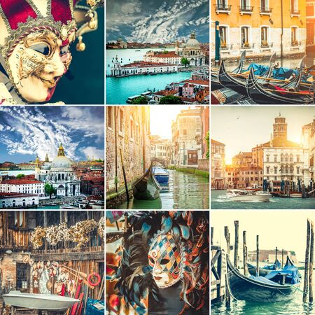 collage  photos canals, gondolas and Venice mask 스톡 콘텐츠