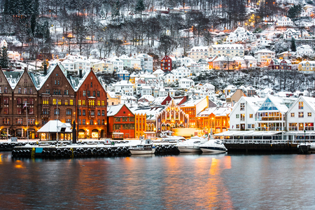 Famous Bryggen street with wooden colored houses in Bergen, Norway Foto de archivo
