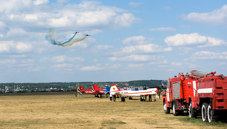 airfield: Kharkiv, Ukraine - August 24, 2015: airshow at Korotych airfield in Kharkiv