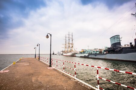 Baltic pier in Gdynia at evening, Poland Stock Photo