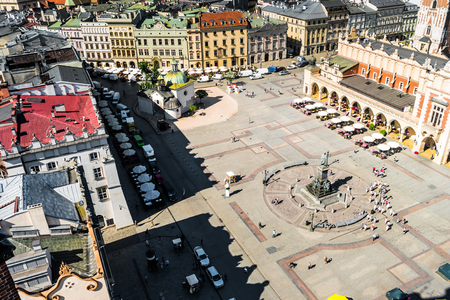 central square: aerial view on the central square of Krakow