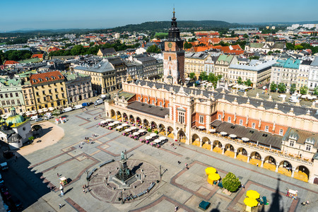 aerial view on the central square of Krakow