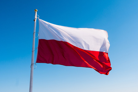 polish flag waving in the sky