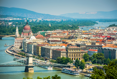 view on Danube and Budapest  in daytime