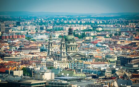 wheel house: view on Budapest  and Cupola of Basilica of saint Istvan from high Stock Photo