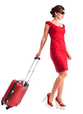 valise voyage: belle fille de partir en vacances