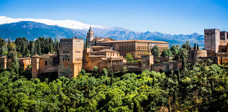 View of the famous Alhambra, Granada in Spain. Imagens