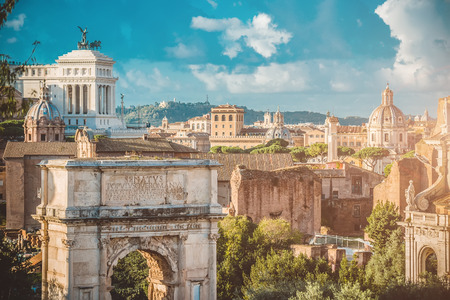 the romans: Picturesque View of the Roman Forum in Rome in Italy