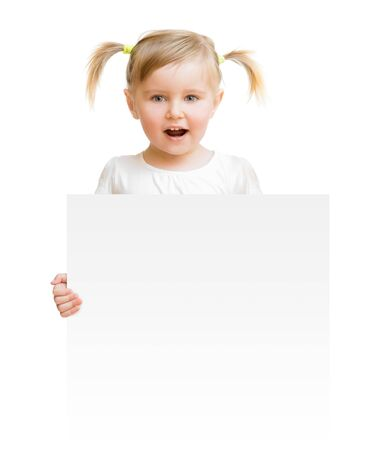 blank sign: little child with board isolated on a white background Stock Photo
