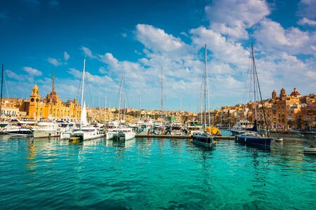 waterfront: yachts near pier in Birgu near Cospicua in Malta