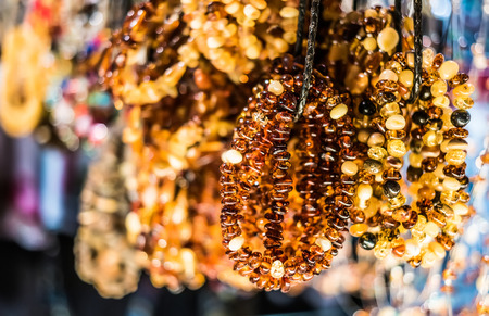 amber light: amber bracelets on market of antiques