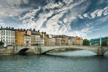 bonaparte: view from river Sona to the Bonaparte bridge and Lyon city against sky, France Stock Photo