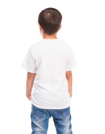 back of a little boy in white shirt isolated on white background