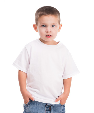 little boy in white shirt isolated on white background