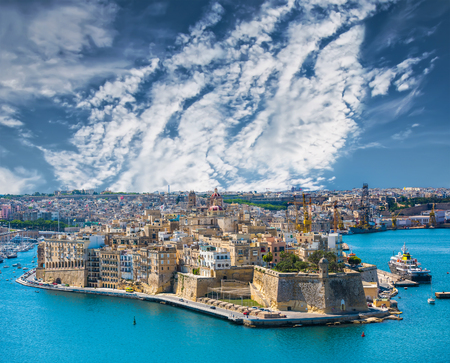 horison: beautiful panoramic view on Valletta from the sea in Malta with blue sky Stock Photo