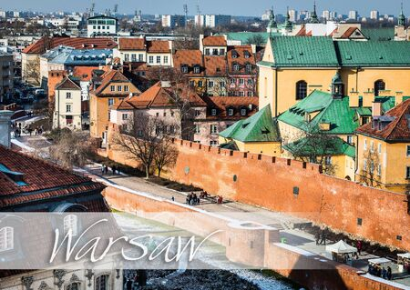 outpost: beautiful view of the center of Warsaw, Castle Square and the Barbakan