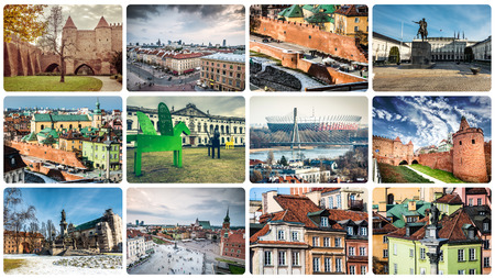 collage of Warsaw famous sights and monuments