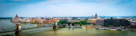 panoramic picturesque view on Budapest and Danube