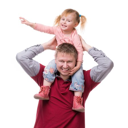 happy love: father keeping daughter on his shouldes isolated on white background Stock Photo