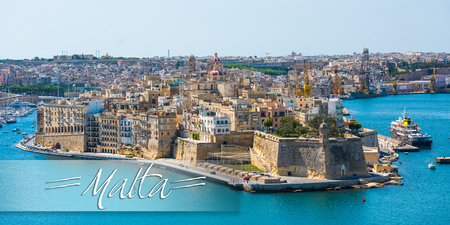 horison: postcard with beautiful panoramic view on Valletta from the sea in Malta