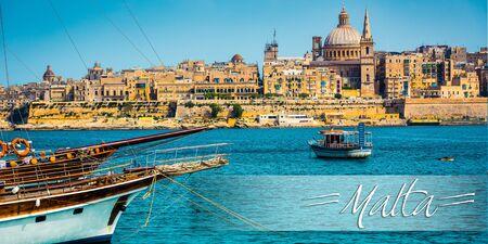 harbour: postcard with scenic View of Marsamxett Harbour and Valletta in Malta