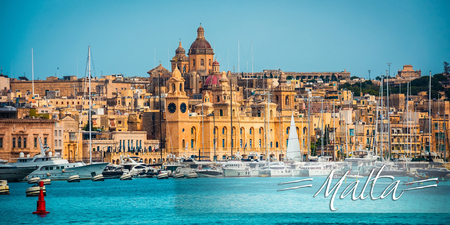 horison: postcard with view on Birgu coast from the sea in Malta