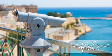 horison: postcard with panoramic telescope for viewing distanced city attractions Stock Photo