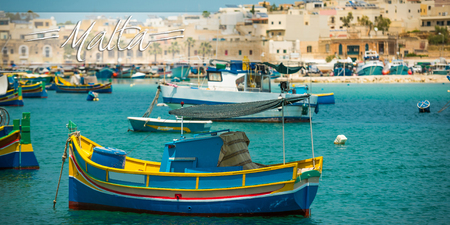horison: postcard with fishing boats near fishing village of Marsaxlokk (Marsascala) in Malta
