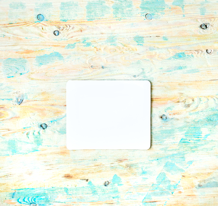 mousepad: white clean square for your design on colorful wooden background
