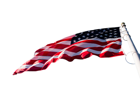 american flag waving isolated on a white backgroud