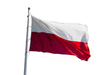polish flag waving isolated on a white backgroud Stock Photo