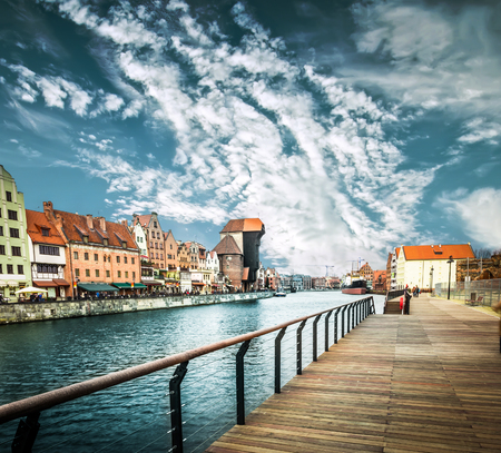 gdansk: Riverand old town of Gdansk, Poland