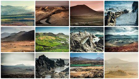 lanzarote: collage of rocky coast s in Lanzarote, Canary islands, Spain