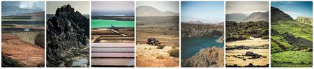 terrain: collage of mountain roads, views and sights of Lanzarote, Canary islands, Spain