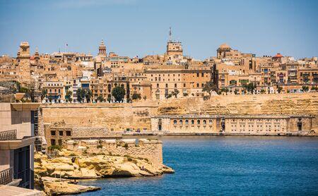 horison: picturesque view on Valletta coastal architecture from the sea in Malta
