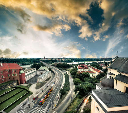 metropolis: beautiful evening view on Warsaw from the bridge of the central square, Poland