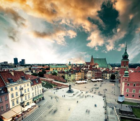 view on the central Warsaw square from town hall, Poland