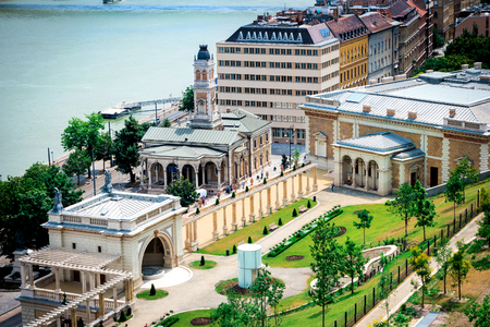 buda: picturesque view on Budapest and Danube from Buda castle wall