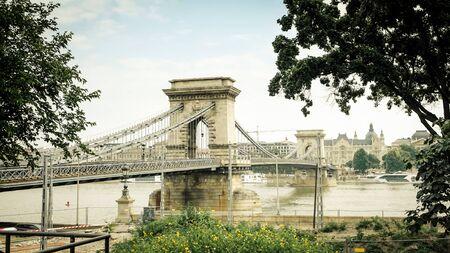 szechenyi: Szechenyi (Chain) bridge crossing Danube in Budapest, Hungary Stock Photo