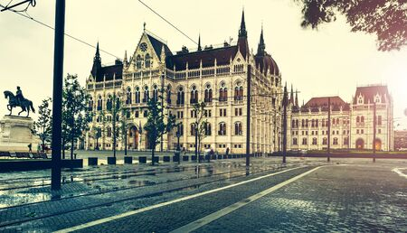 hungarian: view on square and National Hungarian Parliament Stock Photo