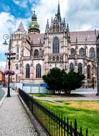 slovak republic: picturesque view on majestic St. Elisabeth Cathedral and a nearby square Stock Photo