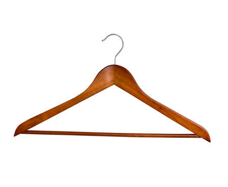 clotheshanger: wooden clothes hanger isolated on a white background Stock Photo